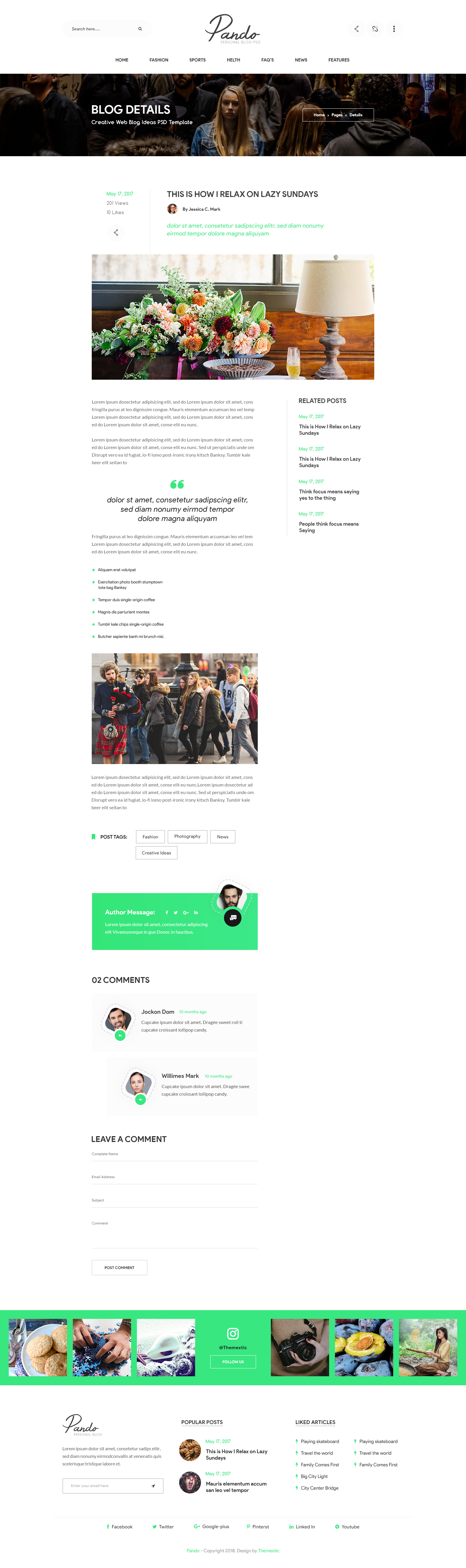 b7de62f3ea9 Pando - Personal Blog PSD Template by themextic