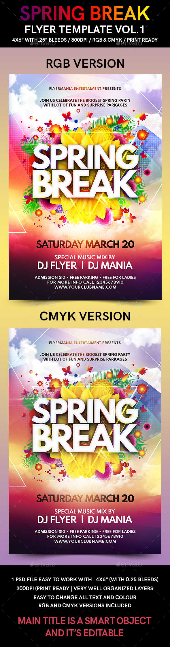 Spring Break Flyer Template Vol.1 - Flyers Print Templates