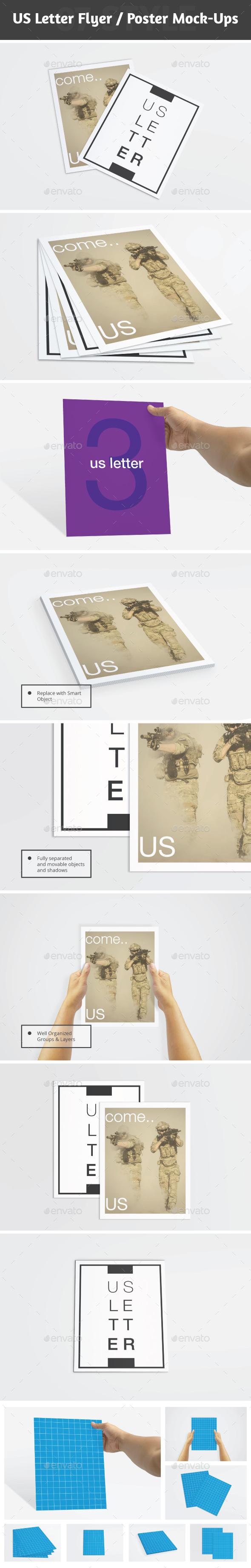 US Letter Flyer / Resume / Brochure Mockups - Brochures Print