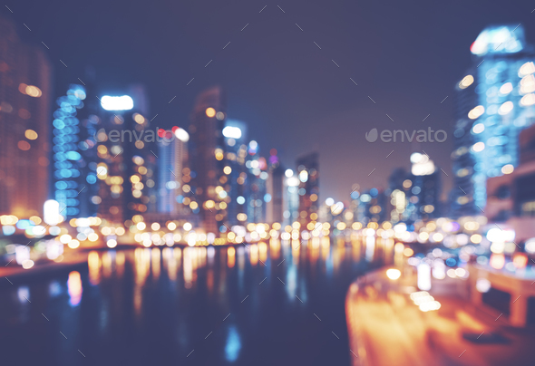 Color toned blurred picture of Dubai Marina at night. - Stock Photo - Images
