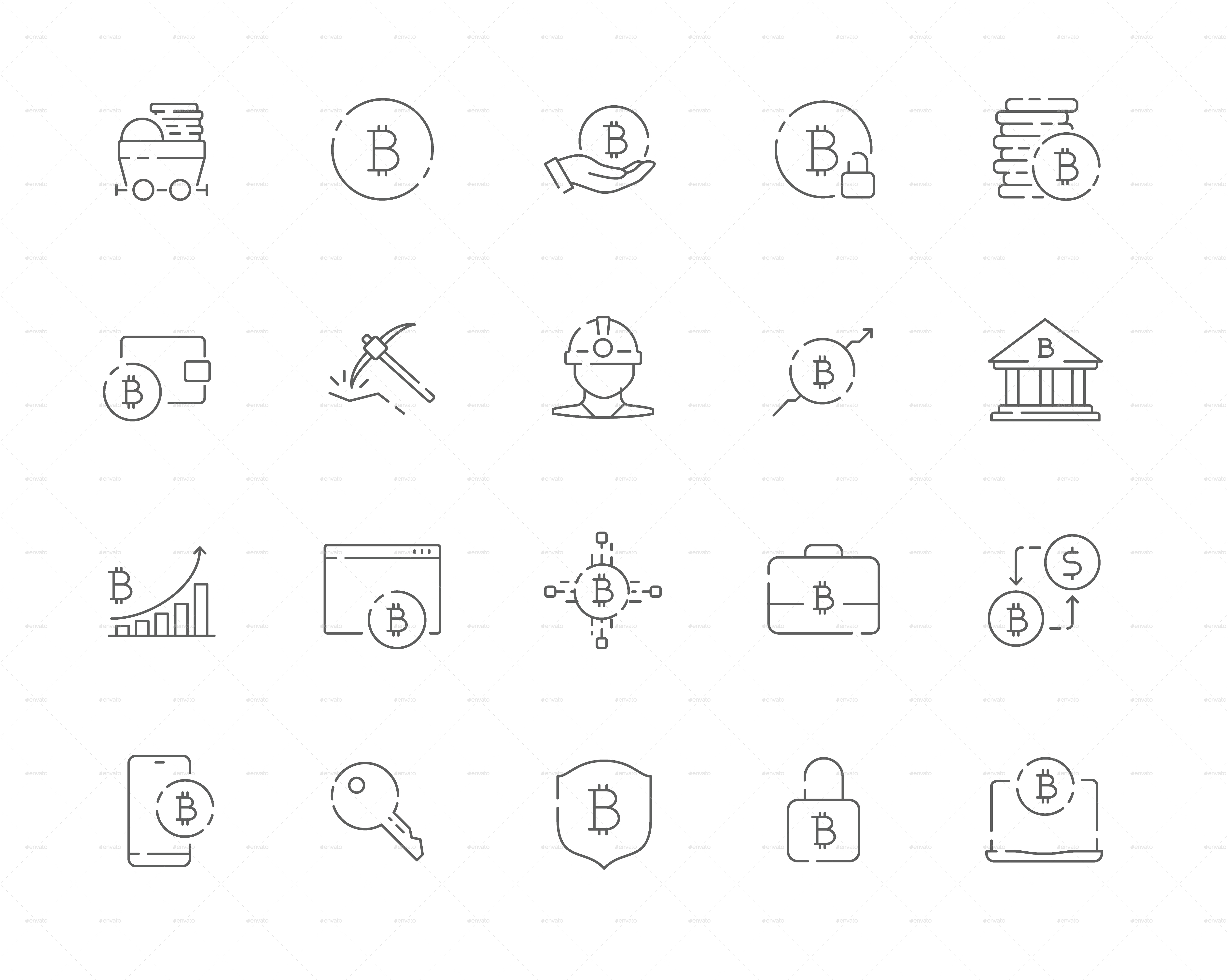 Simple Set of Bitcoin Vector Thin Line Web Icons
