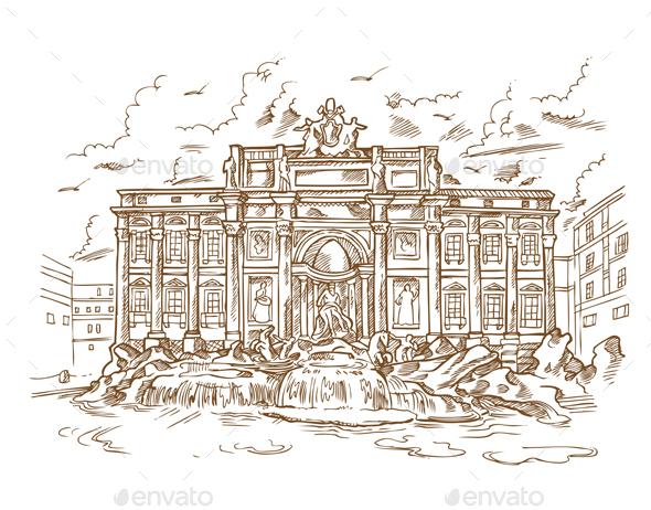 Fontana di Trevi - Buildings Objects