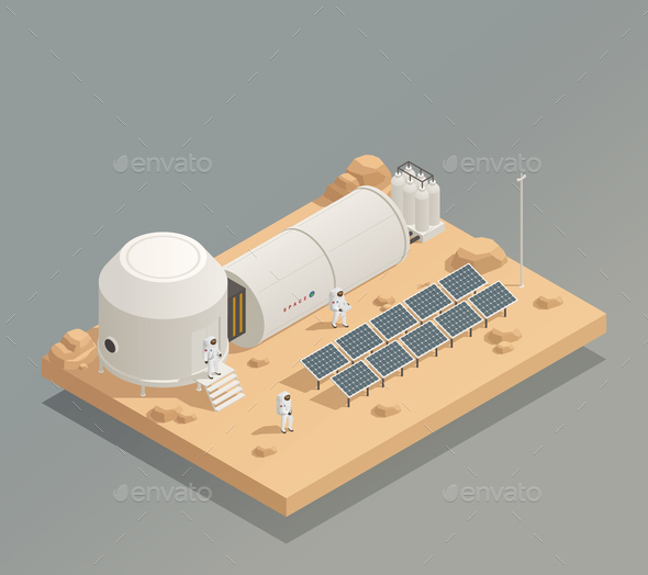 Astronauts Sun Panels Isometric Composition - Communications Technology