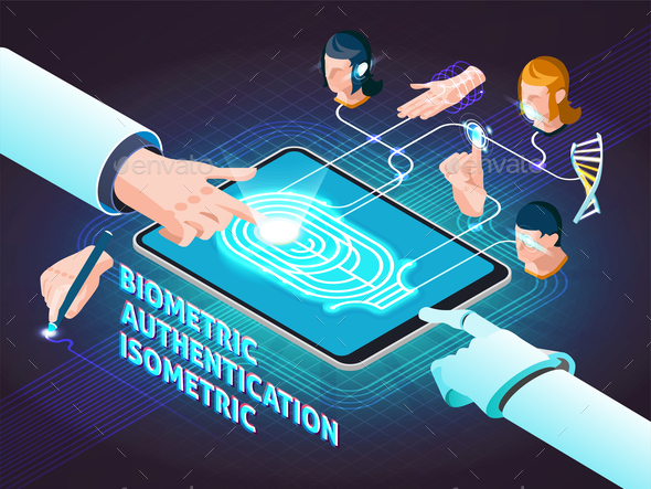 Biometric Authentication Methods Isometric Composition - Computers Technology