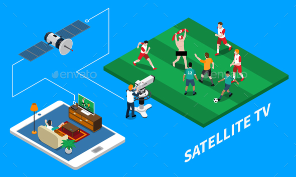 Telecommunication Isometric Composition - Sports/Activity Conceptual