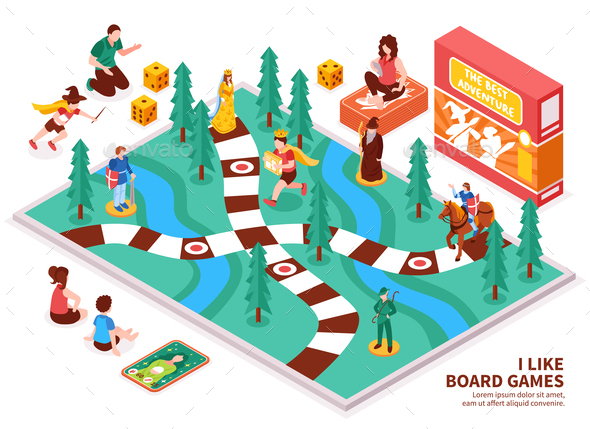 Board Game Isometric Composition - People Characters