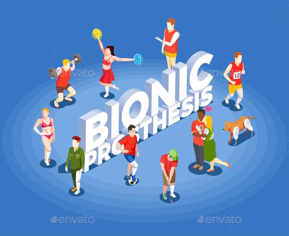 Bionic Prosthesis Isometric Vector Illustration - Health/Medicine Conceptual