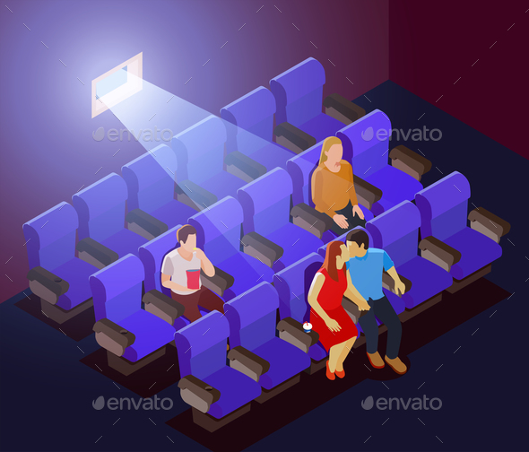 Romantic Dating in Cinema - Miscellaneous Vectors