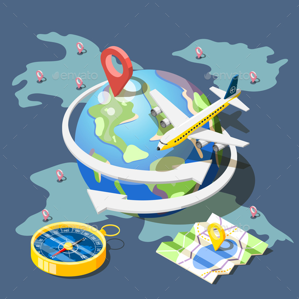 Planning Traveling Isometric Composition - Travel Conceptual