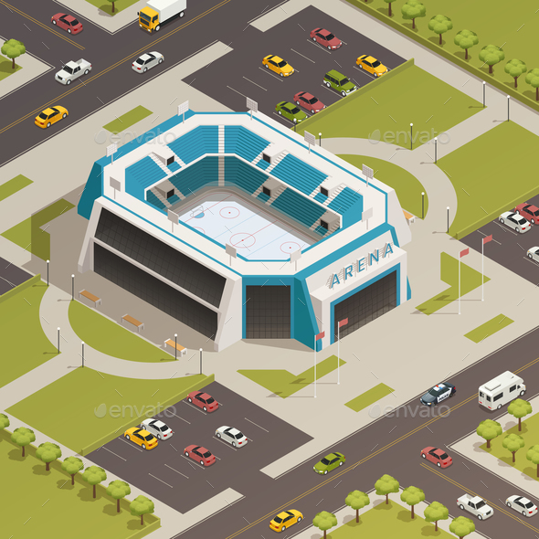 Stadium Sport Arena Isometric Composition - Buildings Objects