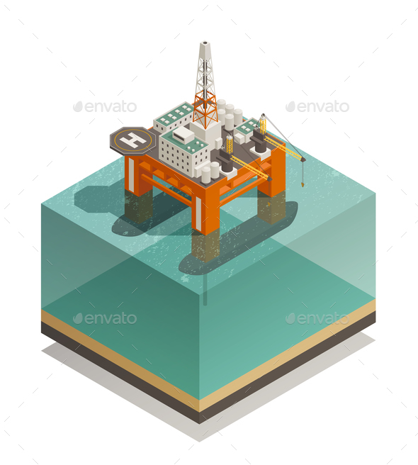 Oil Production Industry Isometric Composition - Industries Business
