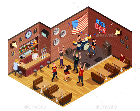 Rock Bar Isometric Composition - People Characters