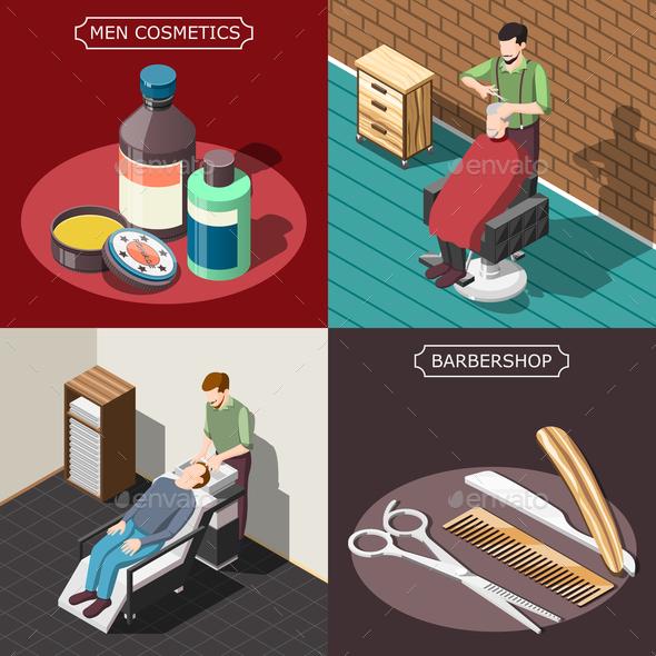 Barbershop Isometric Design Concept - Industries Business