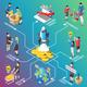 Crowdfunding Isometric Flowchart