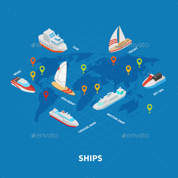 Ships Isometric Infographics - Man-made Objects Objects