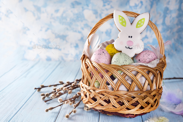 Easter Eggs and cookie rabbit with space for your greetings - Stock Photo - Images