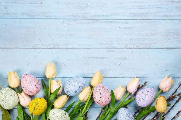 1000 Images About Easter Wallpaper On Pinterest: Easter Colorful Eggs With Tulips On Wood Background As