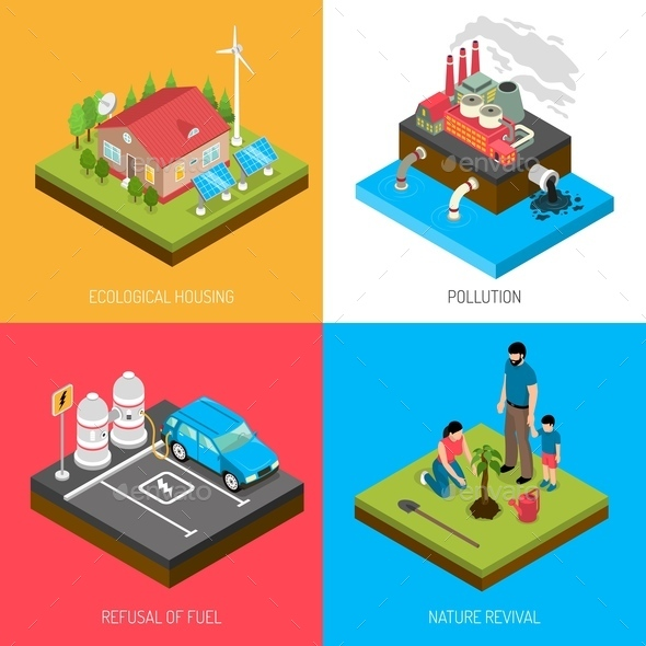Ecology Isometric Design Concept - Industries Business
