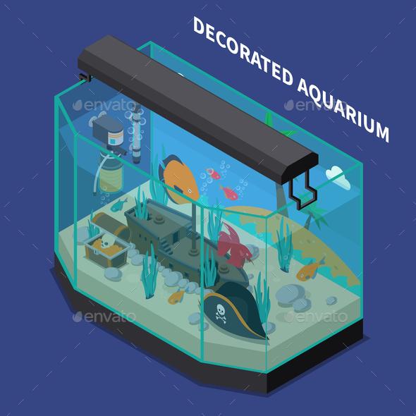 Decorated Aquarium Isometric Composition - Animals Characters