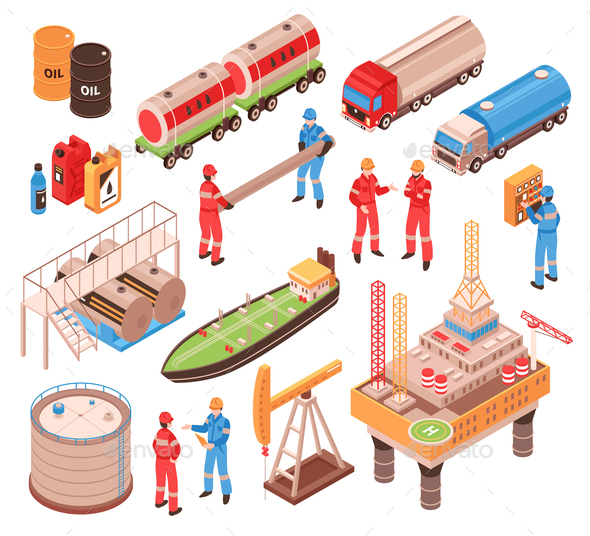 Oil Gas Isometric Icons - Industries Business
