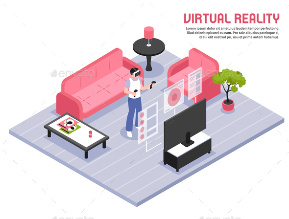 Virtual Reality Isometric Poster - Computers Technology