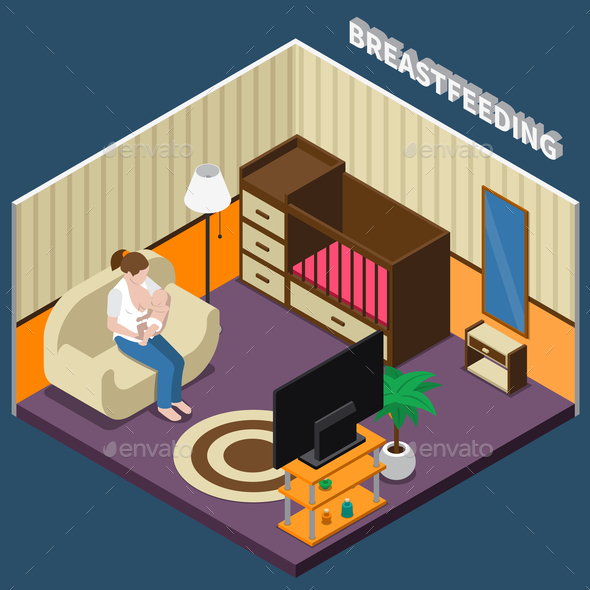 Breastfeeding Isometric Composition - People Characters
