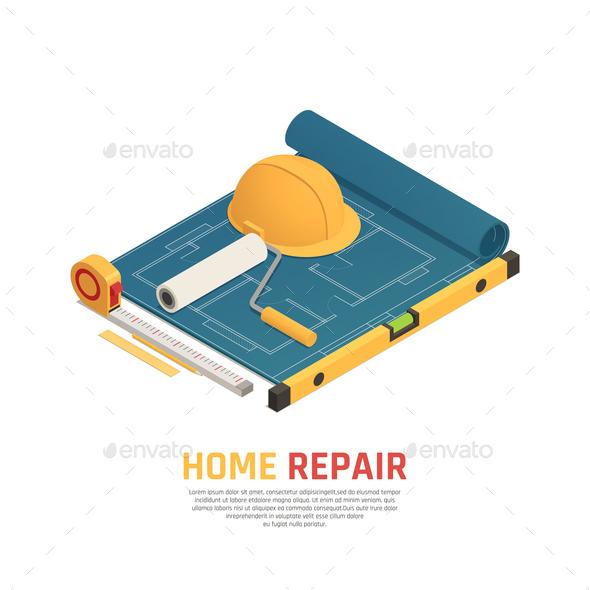 Home Renovation Isometric Composition - Miscellaneous Vectors