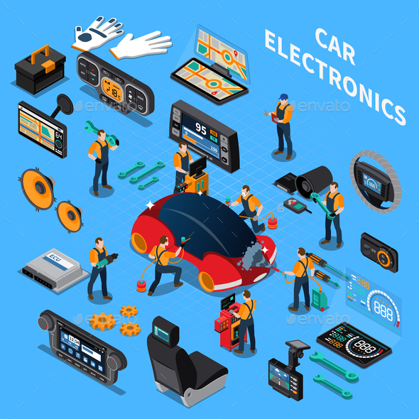 Car Electronics and Service Concept - Services Commercial / Shopping