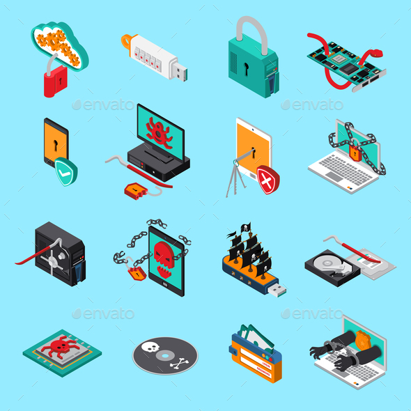 Hardware Protection Icons Set - Computers Technology