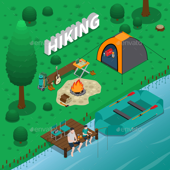 Hiking Concept Illustration - Sports/Activity Conceptual