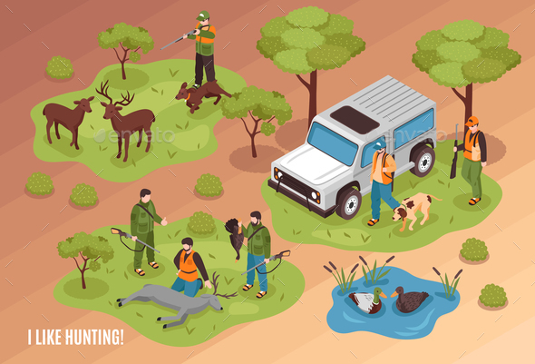 Hunting Scene Isometric - Animals Characters