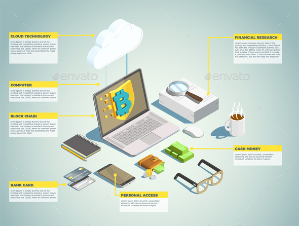 Financial Technology Isometric Layout - Concepts Business