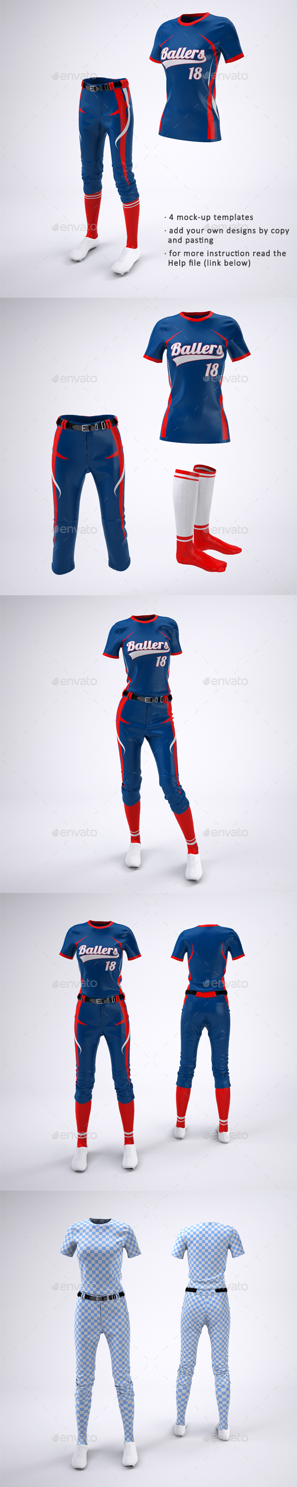Women's Softball Jerseys and Uniform Mock-Up - Apparel Product Mock-Ups