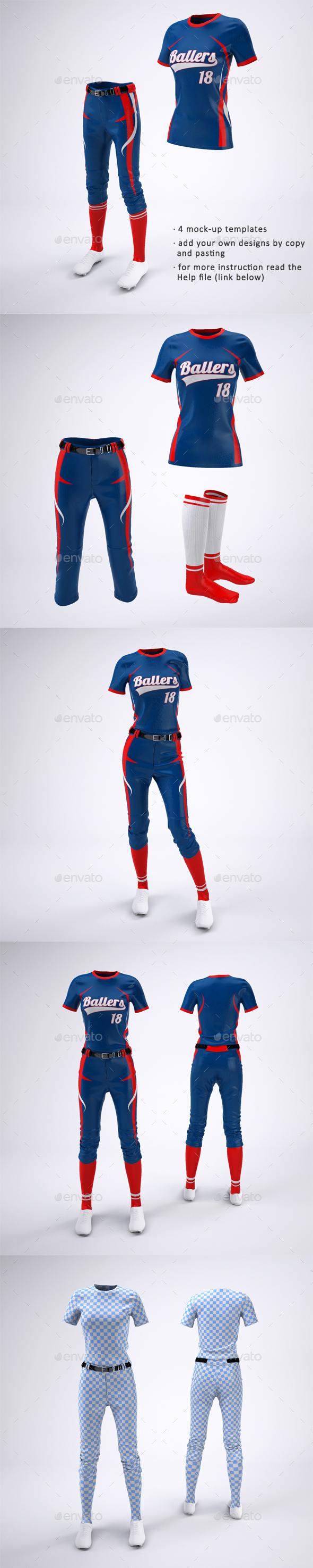 Women's Softball Jerseys and Uniform Mock-Up - Apparel Product Mock-Ups