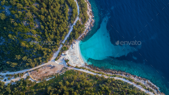 Marble beach (Saliara beach). Thassos island, Greece - Stock Photo - Images