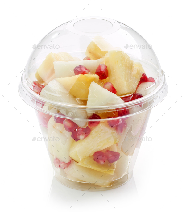 fresh fruit pieces salad in plastic cup - Stock Photo - Images