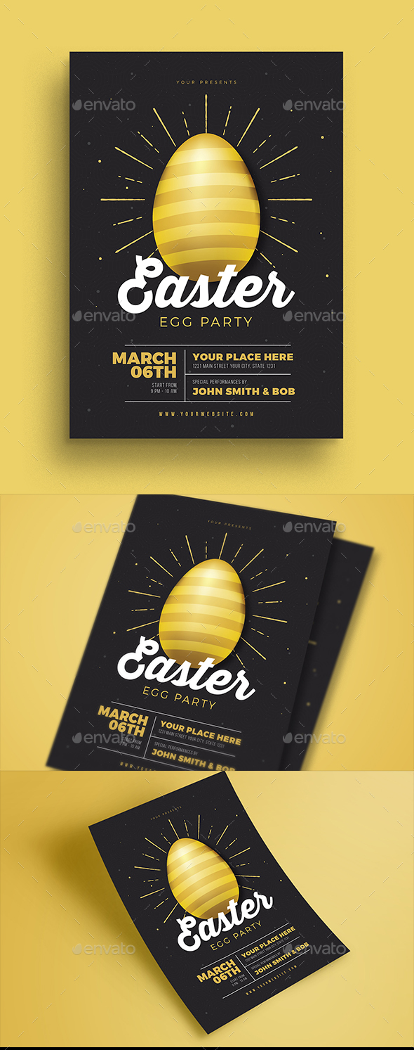 Easter Gold Party Flyer - Events Flyers
