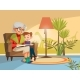 Vector Cartoon Grandmother Reading To Boy