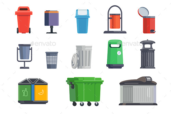 Set of Garbage Cans for Home and Street - Man-made Objects Objects
