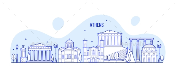 Athens Skyline Greece City Buildings Vector - Buildings Objects