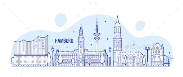 Hamburg Skyline Germany City Buildings Vector - Buildings Objects