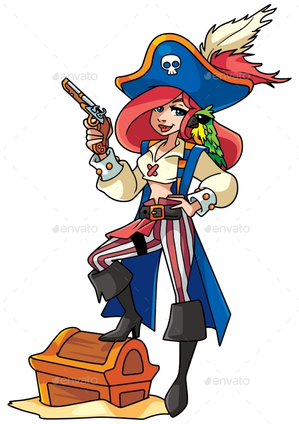 Pirate Girl Illustration - People Characters