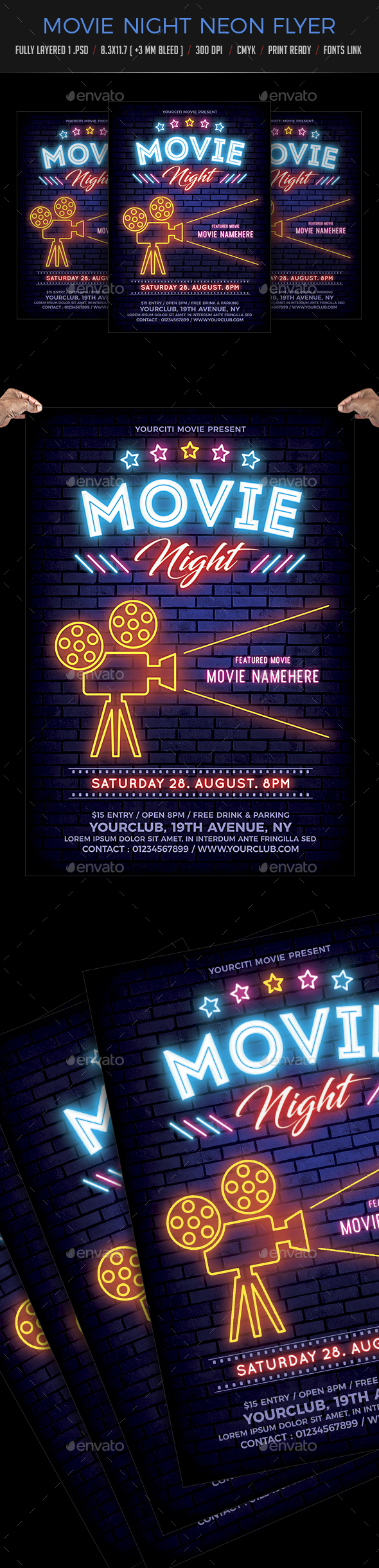 Movie Night Neon Flyer - Clubs & Parties Events