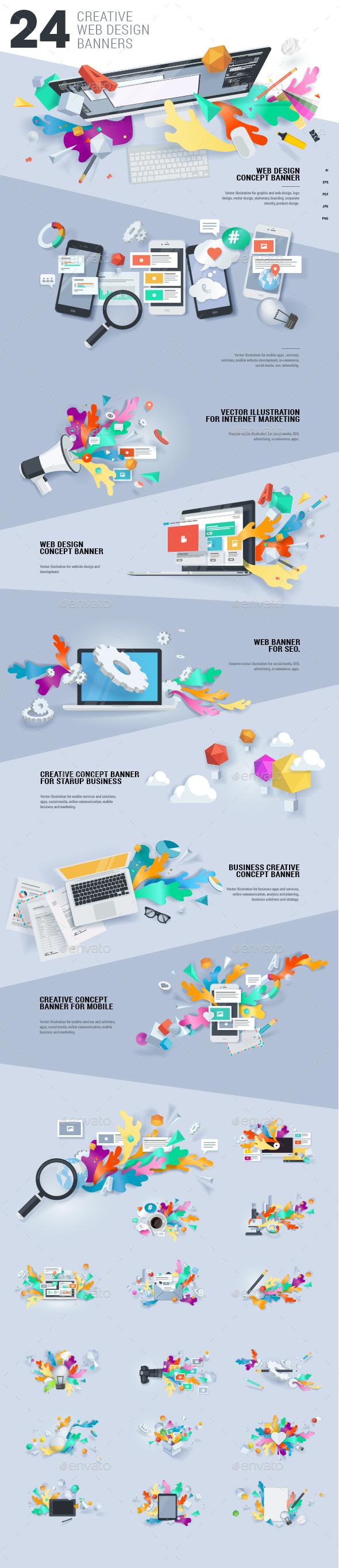 Creative Concept Banners - Web Elements Vectors