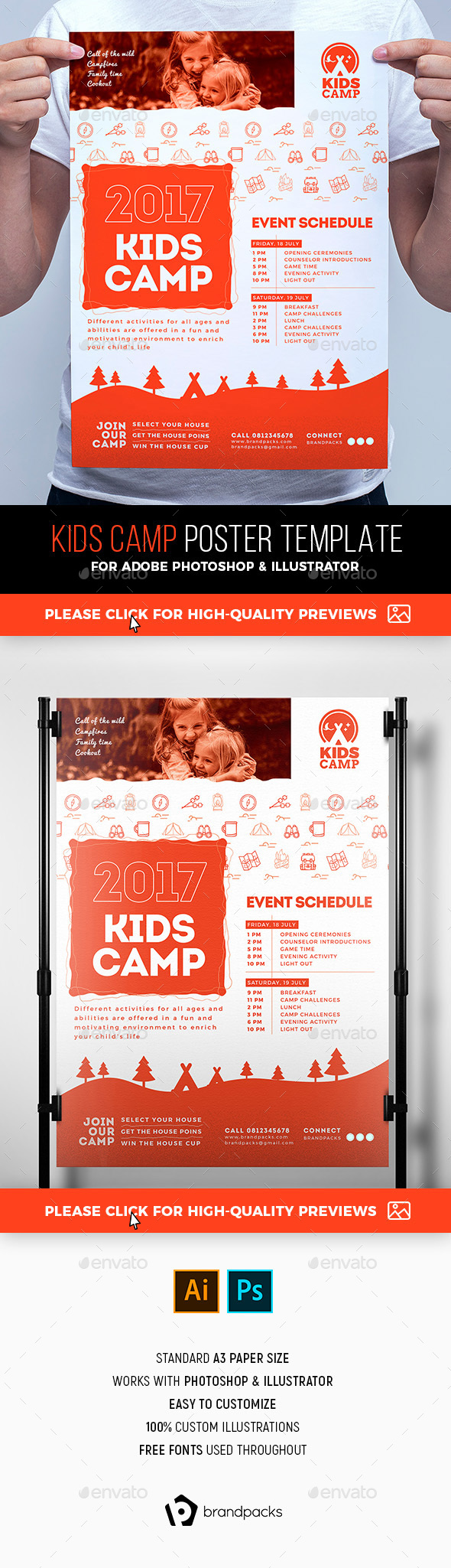 A3 Kids Camp Poster Template - Sports Events