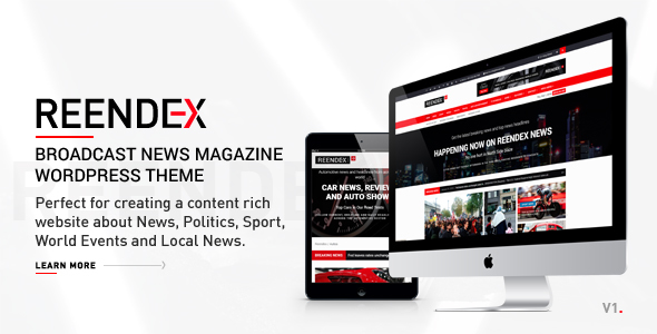 Image of Reendex - Broadcast News Magazine WordPress Theme