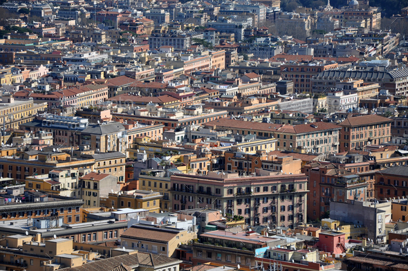 Aerial view of the city of Rome, Italy. Drone shot of Roma, above view of the buildings - Stock Photo - Images