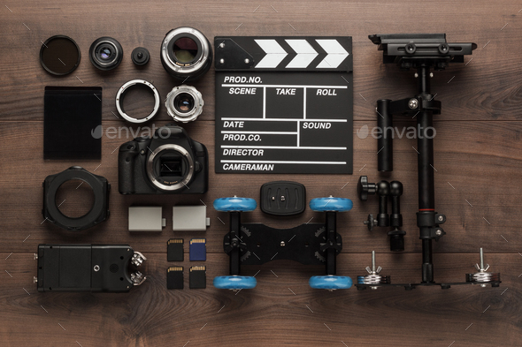 Different Video Equipment View From Above  - Stock Photo - Images