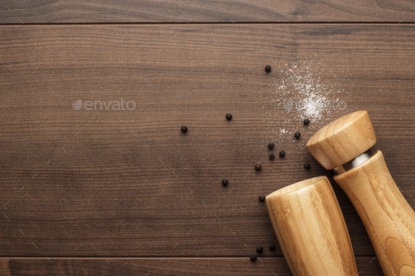 Wooden Pepper Mill And Salt Shaker  - Stock Photo - Images