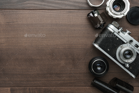 Retro Film Camera And Some Lenses  - Stock Photo - Images